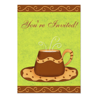 "Green & Brown Cup Customized Coffee Event 5"" X 7"" Invitation Card"