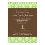 Green Brown Damask Cross Twins Baptism Christening Card