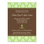 "Green Brown Damask Cross Twins Baptism Christening 5"" X 7"" Invitation Card"