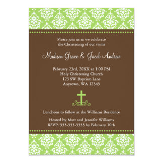 Green Brown Damask Cross Twins Baptism Christening 5x7 Paper Invitation Card