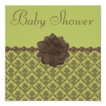 Green & Brown Damask, Flower & Pearls Baby Shower Card