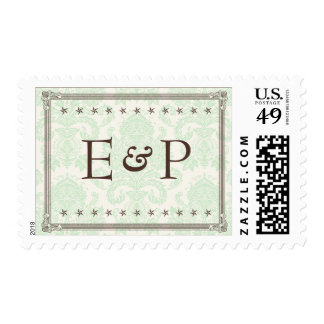 Green Brown Damask Initials Wedding Postage