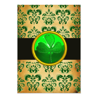 GREEN BROWN DAMASK  PARCHMENT WITH SHAMROCK  Black 5x7 Paper Invitation Card