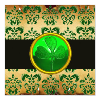 GREEN BROWN DAMASK PARCHMENT WITH SHAMROCK ,black Invitation