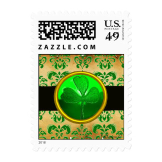 GREEN BROWN DAMASK  PARCHMENT WITH SHAMROCK  Black Postage