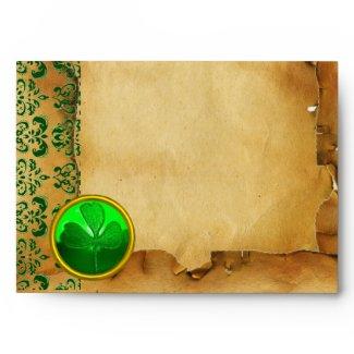 GREEN BROWN DAMASK PARCHMENT WITH SHAMROCK envelope