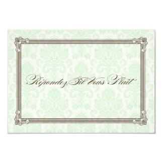 Green & Brown Damask Poster Wedding RSVP Custom Announcements