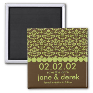 Green & Brown Damask Save the Date Magnet