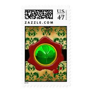 GREEN BROWN DAMASK , SHAMROCK AND  RED WAX SEAL POSTAGE