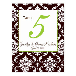 Green Brown Damask Wedding Table Number Card