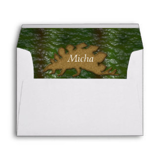 Green & Brown Dinosaur Skin Monogram Envelope