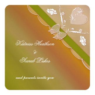 Green & Brown Elegant Lace Wedding Invitation Card