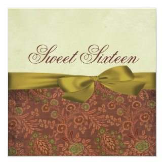 Green & Brown Floral Bow Birthday Invitation