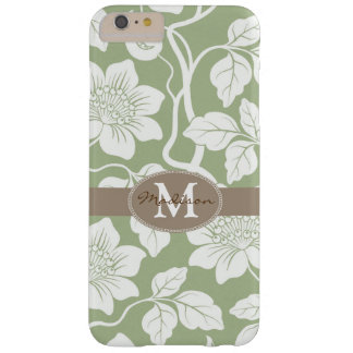 Green & brown floral name / initial barely there iPhone 6 plus case