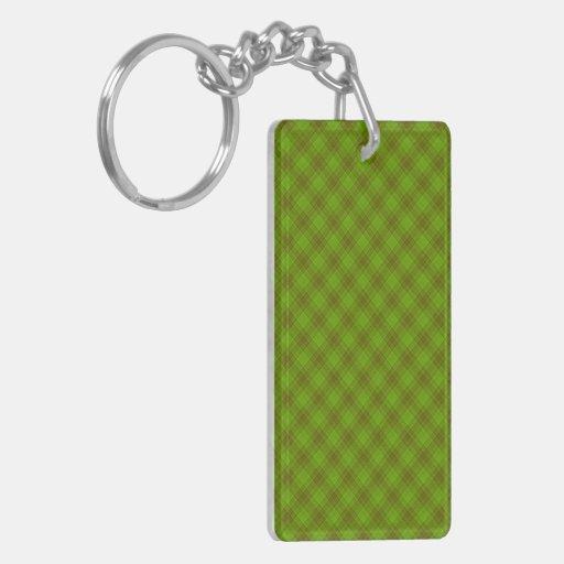 Green & Brown Gingham Acrylic Keychain