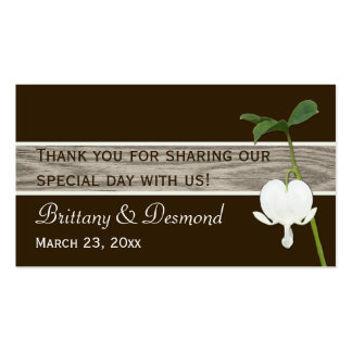 Green Brown Ivory Bleeding Heart Favor Tag Business Card Template