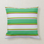 [ Thumbnail: Green, Brown, Lavender, Sea Green & Dark Green Throw Pillow ]