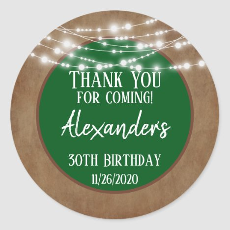 Green Brown Lights Thank You Birthday Favor Tags