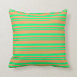 [ Thumbnail: Green & Brown Lined/Striped Pattern Throw Pillow ]