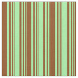 [ Thumbnail: Green & Brown Lines/Stripes Pattern Fabric ]
