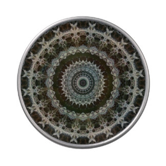 Green & Brown Mandala see-thru round candy tin