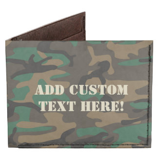 Green Brown Military Camo Camouflage Billfold Wallet