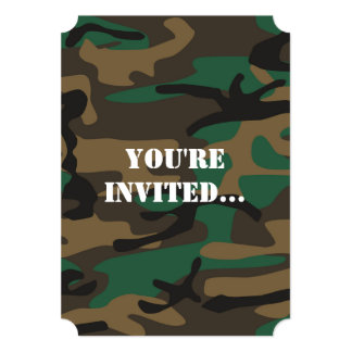 Green Brown Military Camo Camouflage 5x7 Paper Invitation Card