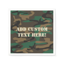 Green Brown Military Camo Camouflage Napkin