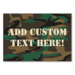 Green Brown Military Camo Camouflage Table Card