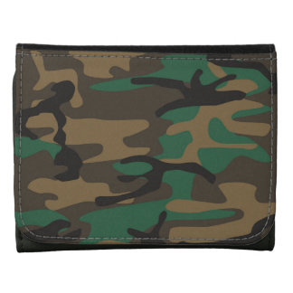 Green Brown Military Camo Camouflage Wallet