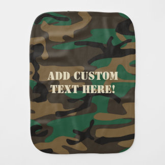 Green Brown Military Camo Camouflage Baby Burp Cloth
