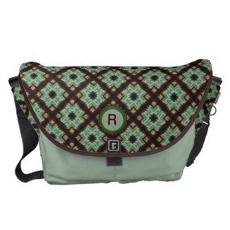 Green Brown Monogram Crisscross Pattern Messenger Bags