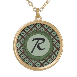 Green Brown Monogram Crisscross Pattern Personalized Necklace
