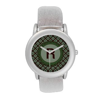Green Brown Monogram Crisscross Pattern Wrist Watch