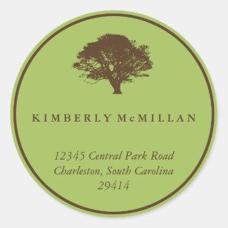 Green brown oak tree circle custom address label