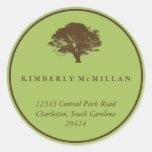 Green brown oak tree circle custom address label sticker