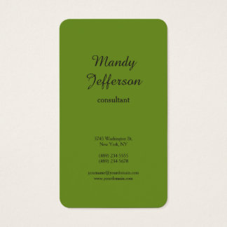 Green Brown Olive Modern Minimalist Professional Business Card