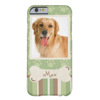 Green & Brown paws & stripes w/photo insert Barely There iPhone 6 Case