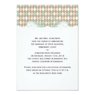 Green Brown Peach Harlequin Wedding Announcement