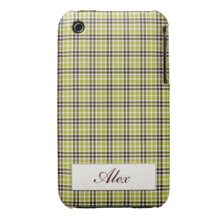 Green & Brown Plaid Case-Mate iPhone 3 Case