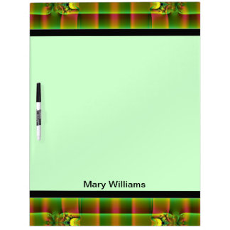 Green Brown Plaid Fractal Abstract Dry-Erase Board
