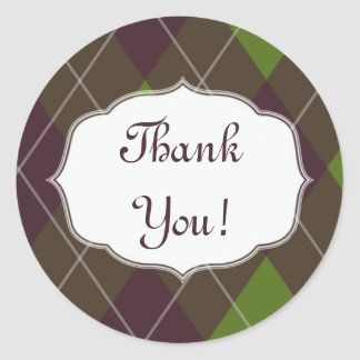 "Green Brown Plaid Geometric ""Thank You!"" Sticker"