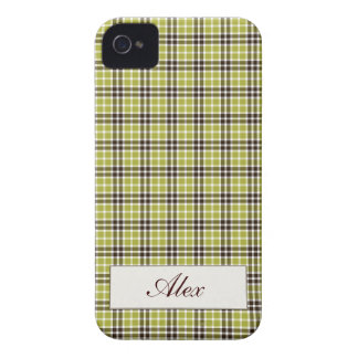 Green & Brown Plaid iPhone 4 Case