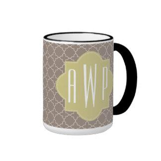 Green + Brown Quatrefoil Monogram Ringer Mug