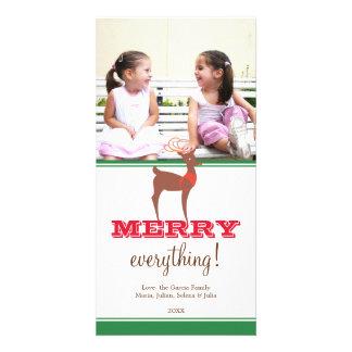 Green brown reindeer custom holiday photo greeting card