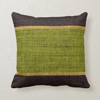 Green & Brown Rustic Burlap Jute Background Throw Pillow
