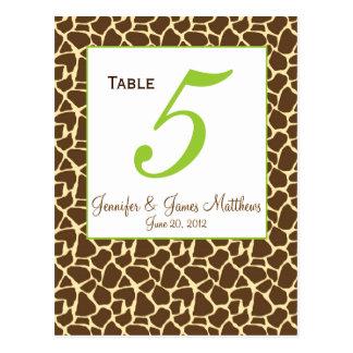 Green Brown Safari Wedding Table Number Card Postcard