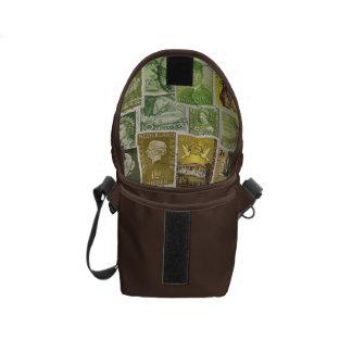 Green Brown Small Travel Bag, Vintage Stamp Art Messenger Bag
