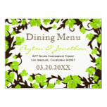 Green Brown Spring Leaves Dining Menu 4.5x6.25 Paper Invitation Card