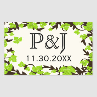 Green Brown Spring Leaves Favor Stickers